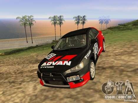 Mitsubishi Lancer Evo X para GTA San Andreas vista direita