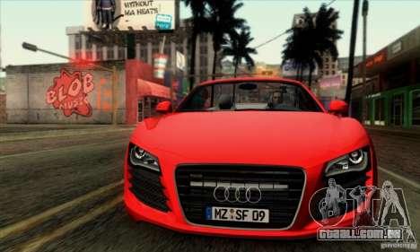 Audi R8 Spyder Tunable para GTA San Andreas traseira esquerda vista