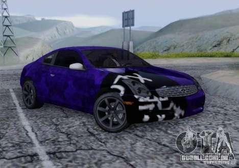 Infiniti G35 para GTA San Andreas interior
