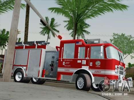 Pierce Saber LAFD Engine 10 para vista lateral GTA San Andreas