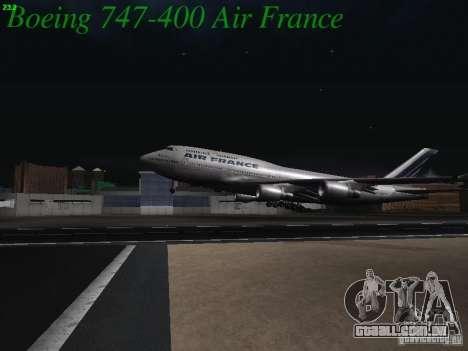 Boeing 747-400 Air France para vista lateral GTA San Andreas