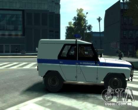 UAZ 31512 polícia para GTA 4 vista direita