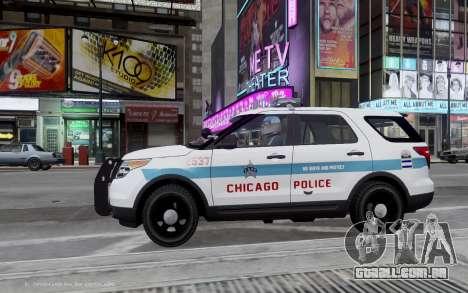 Ford Explorer Chicago Police 2013 para GTA 4 esquerda vista