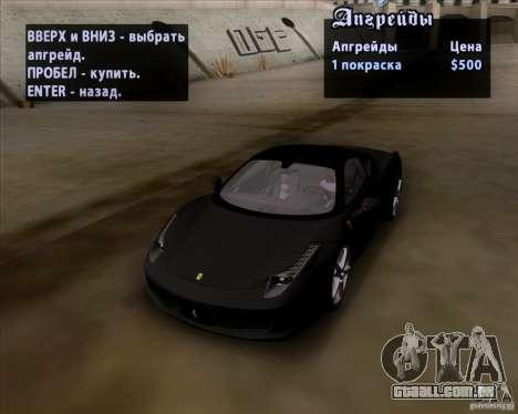 Ferrari 458 Italia V12 TT Black Revel para GTA San Andreas vista interior