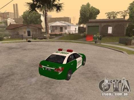 Chevrolet Cruze Carabineros Police para GTA San Andreas vista direita