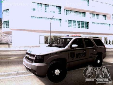 Chevrolet Tahoe 2007 NYPD para GTA San Andreas esquerda vista