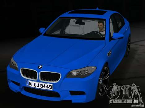 BMW M5 F10 2012 para GTA Vice City vista interior