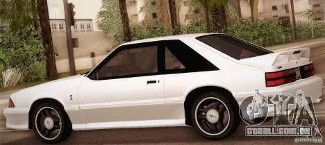 Ford Mustang SVT Cobra 1993 para GTA San Andreas vista inferior