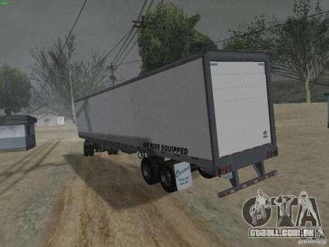 O reboque para a Freightliner Cascadia para GTA San Andreas traseira esquerda vista