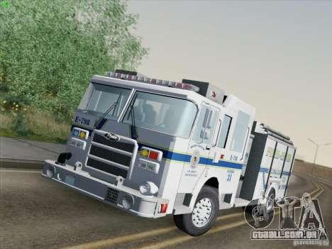 Pierce Pumpers. B.C.F.D. FIRE-EMS para GTA San Andreas traseira esquerda vista