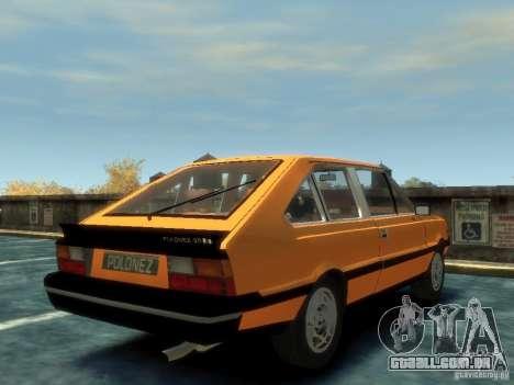 FSO Polonez 2.0X Coupe para GTA 4 traseira esquerda vista