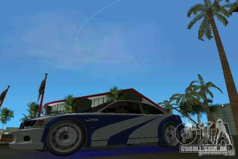 BMW M3 GTR NFSMW para GTA Vice City deixou vista