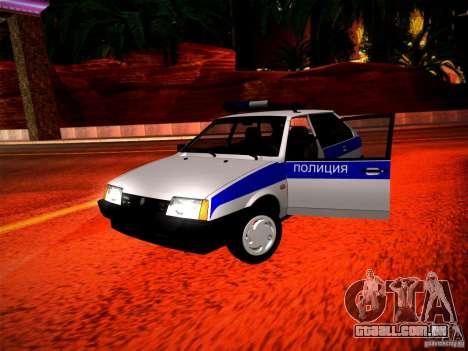 Polícia Vaz 2109 para GTA San Andreas vista interior
