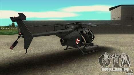 O helicóptero de resident evil para GTA San Andreas esquerda vista