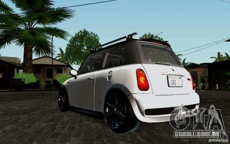 Mini Cooper S Tuned para GTA San Andreas vista traseira