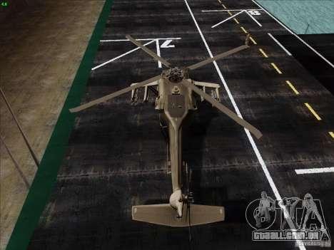 S-70 Battlehawk para GTA San Andreas traseira esquerda vista