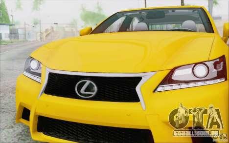 Lexus GS 350 F Sport Series IV para GTA San Andreas vista interior