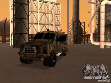 Lenco Bearcat NYPD para GTA San Andreas vista traseira