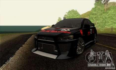 Mitsubishi Lancer Evolution X 2008 para GTA San Andreas vista superior