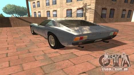 Lamborghini Miura P400 SV 1971 V1.0 para GTA San Andreas traseira esquerda vista