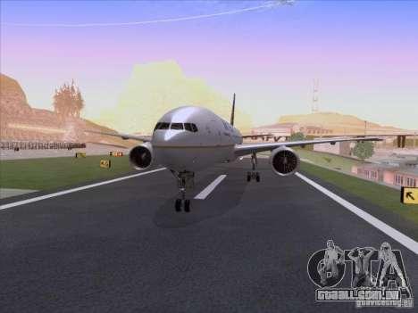 Boeing 777-200 United Airlines para GTA San Andreas esquerda vista