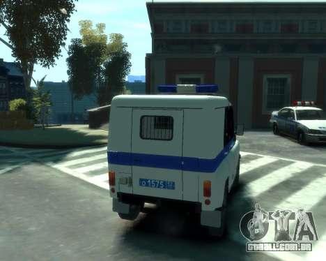 UAZ 31512 polícia para GTA 4 vista de volta