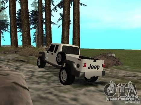Jeep Gladiator para GTA San Andreas traseira esquerda vista