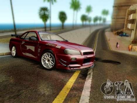 Nissan R34 Skyline GT-R para GTA San Andreas traseira esquerda vista