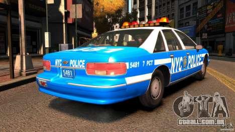 Chevrolet Caprice 1993 NYPD para GTA 4 traseira esquerda vista