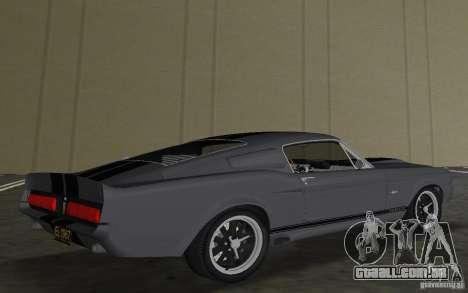 Shelby GT500 Eleanor para GTA Vice City vista traseira