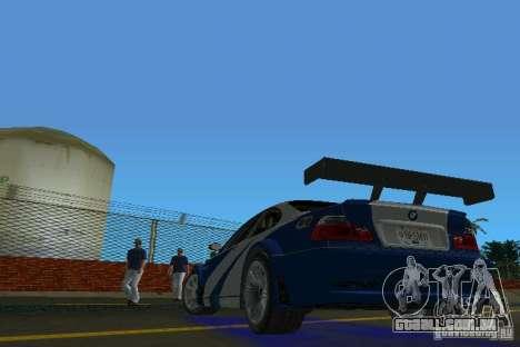 BMW M3 GTR NFSMW para GTA Vice City vista traseira esquerda