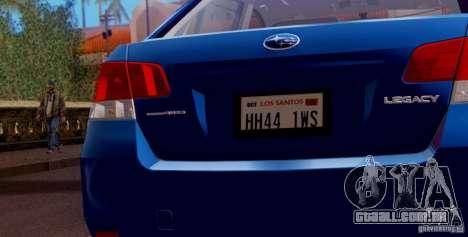 Subaru Legacy B4 2010 para o motor de GTA San Andreas