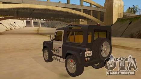 Land Rover Defender Sheriff para GTA San Andreas traseira esquerda vista