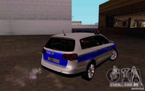 Volkswagen Passat B6 Variant Polizei para GTA San Andreas vista direita