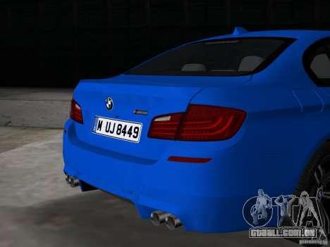 BMW M5 F10 2012 para GTA Vice City vista traseira
