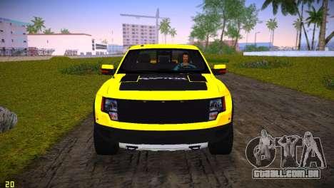 Ford F-150 SVT Raptor para GTA Vice City vista interior