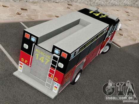 Pierce SFFD Rescue para GTA San Andreas vista interior
