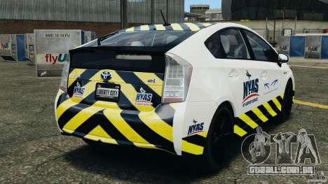 Toyota Prius NY Airport Service para GTA 4 traseira esquerda vista