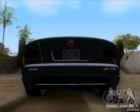 Dodge Viper SRT-10 Coupe para GTA San Andreas vista interior