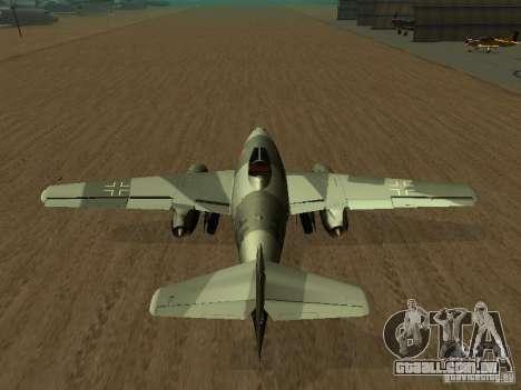 Messerschmitt Me262 para GTA San Andreas traseira esquerda vista