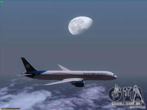 Boeing 787-8 Dreamliner AeroMexico para GTA San Andreas vista interior