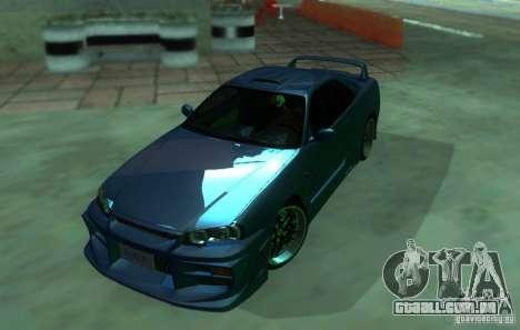 Nissan Skyline GT-R34 para GTA San Andreas traseira esquerda vista