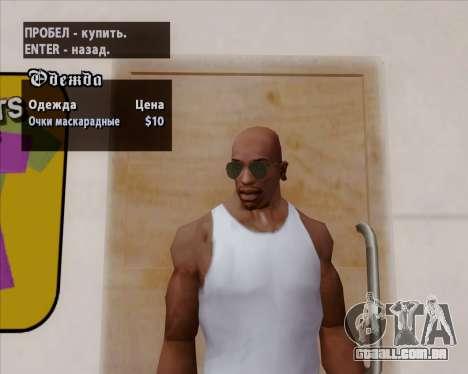 Óculos de sol verdes aviadores para GTA San Andreas sexta tela