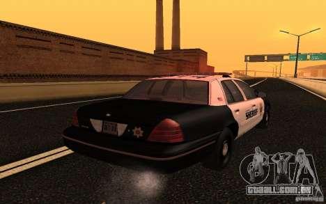 Ford Crown Victoria Police para GTA San Andreas vista traseira