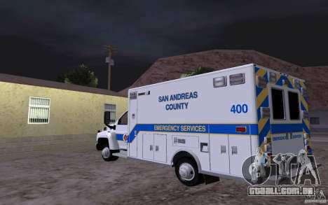 Chevrolet C4500 Ambulance para GTA San Andreas traseira esquerda vista