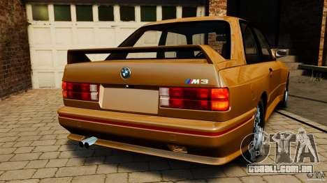 BMW M3 E30 Stock 1991 para GTA 4 traseira esquerda vista