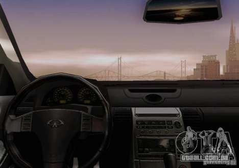 Infiniti G35 para GTA San Andreas vista inferior
