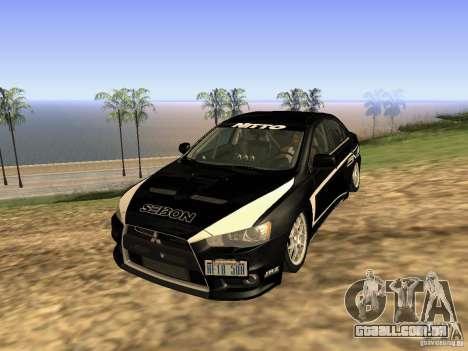 Mitsubishi Lancer Evo X para GTA San Andreas vista interior