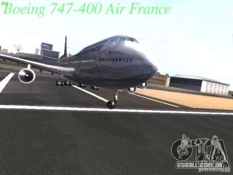 Boeing 747-400 Air France para GTA San Andreas vista inferior