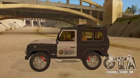 Land Rover Defender Sheriff para GTA San Andreas esquerda vista